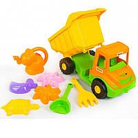 """Машина """"Multi truck"""" в сетке 36*20*20см  вантажівка з набором для піску з лійкою, 8 ел., ТМ Wader(39206)"""