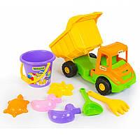 """Машина """"Multi truck"""", в сетке 36*20*19 см  вантажівка з набором для піску, 8 ел., ТМ Wader(39204)"""