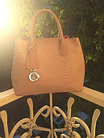Сумка брендовая копия Christian Dior под рептилию бежевая