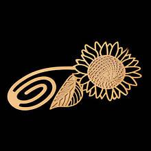 Металлическая закладка книжная Подсолнух золотистая