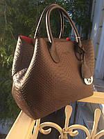 Сумка брендовая копия Christian Dior под рептилию коричневая