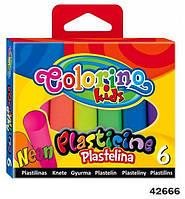 """Пластилин """"neon"""", 6 цветов, в кор.11*9см., ТМ Colorino(42666)"""