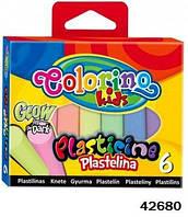 Пластилин светящийся в темноте, 6 цветов, ТМ Colorino(42680)