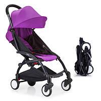 Детская коляска YOYA 175 А+ Purple, 3 ярусный капор, складная, компактная Йойа фиолетовая