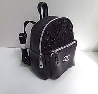 Модный женский черный рюкзак с блестками карманом Шанель тренд 2017 года