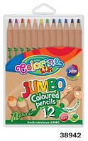 """Карандаши """"JOMBO"""" цветные, круглые, натуральное дерево, 12 цветов, ТМ Colorino(38942)"""