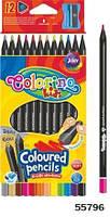 Карандаши цветные, треугольные + точилка, 12 цветов, черное дерово, ТМ Colorino(55796)