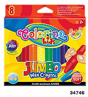 "Мел ""JUMBO"" восковый, 8 цветов, ТМ Colorino(34746)"