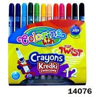 Мелки восковые  выкручивающиеся, 12 цветов, ТМ Colorino(14076)