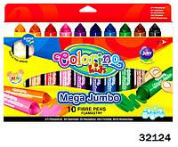 """Маркеры """"Mega Jumbo"""" с поддоном, 10 цветов, ТМ Colorino(32124)"""