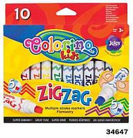 """Маркеры """"Zig Zag"""" со сдвоенным наконечником, 10 цветов, ТМ Colorino(34647)"""