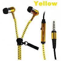Навушники на блискавки Zipper Earphones жовті