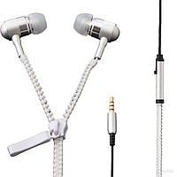 Навушники на блискавки Zipper Earphones білі