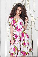 """Приталенное летнее платье в цветочек """"Роза"""" с коротким рукавом и расклешенной юбкой (3 цвета)"""