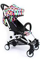 Детская коляска YOYA 175 Multicollor, 3 ярусный капор легкая, складная, компактная Йойа мультиколлор