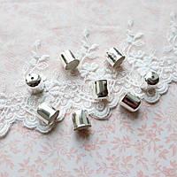 Концевик белое серебро, 10*11 мм