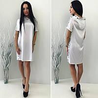 Женское модное стильное шелковое платье GIVENCHY с капюшоном  +цвета