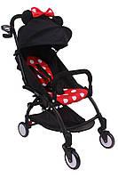 Детская коляска YOYA 175 A+ Minnie Mouse Black, 3 ярусный капор, легкая, складная, компактная Йойа Минни маус