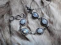 Элегантный браслет с натуральным лунным камнем. Индия!