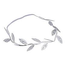 Греческая повязка на голову серебристая Листики
