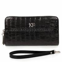 Женский кожаный кошелек Katerina Fox черного цвета из натуральной кожи под крокодил (KF-358)