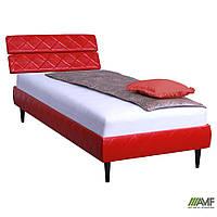 Кровать 0,8х2 Бизе, к/з Скаден красный, ножки буковые конус венге