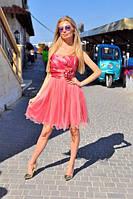 """Нарядное атласное мини-платье на бретельках """"Юлия"""" с цветком (4 цвета)"""