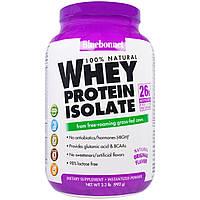 Bluebonnet Nutrition, 100% натуральный изолят сывороточного белка с натуральным оригинальным вкусом, 2.2 фунто