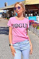 """Хлопковая женская футболка """"VOGUE"""" с принтом (3 цвета)"""