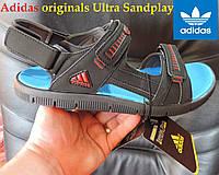 Босоножки (сандалии) мужские Adidas originals Ultra Sandplay E 856, черные. ЭКО кожа. Лицензионный оригинал.
