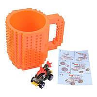 Кружка Лего Build-On Brick Mug 340 мл (оранжевая, розовая)