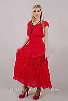 Эффектное красное платье из хлопка