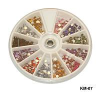 Стразы-цветочки разноцветные, большие камни YRE KMK-07, цветочный дизайн ногтей