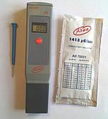 Влагозащищённый кондуктометр (EC-метр) Adwa AD203 (0-1999 ms/cm) с АТС