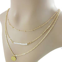 Тройная цепочка на шею с подвесками золотистая