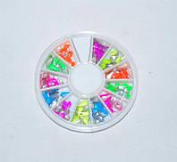Цветной металический декор для ногтей в карусельке, декор YRE DMC-01, материалы для наращивания Харьков