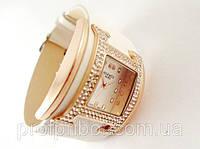 Часы наручные женские HERMES Paris белые со стразами  копия