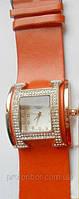 Часы наручные женские HERMES Paris копия терракотовые со стразами