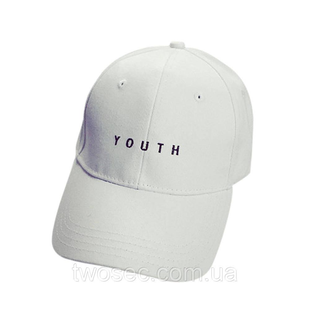 Кепка бейсболка біла жіноча, чоловіча, унисекс в стилі Youth (Юність, Молодість) білого кольору