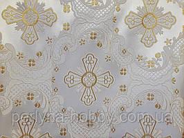 Тканина церковна Еліон біла шовк золото