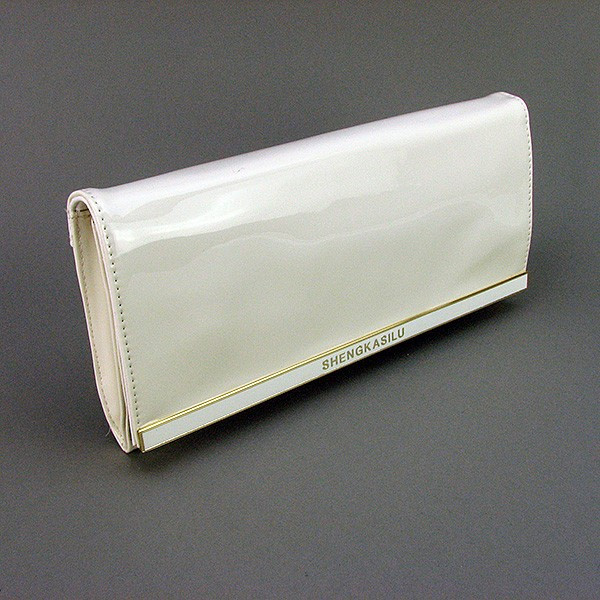 Клатч-сумочка средняя кожзам лаковая женская белая Sheng Kasilu 59894