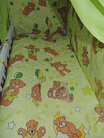 """Белье постельное детское (простынь, наволочка, пододеяльник) """" Мишки на воздушном шаре """" зеленый"""