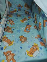 """Белье постельное детское (простынь, наволочка, пододеяльник) """" Мишки на воздушном шаре """" голубой"""