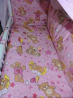 """Белье постельное детское (простынь, наволочка, пододеяльник) """" Мишки на воздушном шаре """" розовый"""
