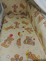 """Белье постельное детское (простынь, наволочка, пододеяльник) """" Мишки на воздушном шаре """" бежевый"""