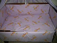 """Белье постельное детское (простынь, наволочка, пододеяльник) """" Жираф """" фиолет"""
