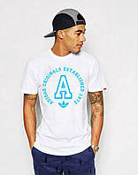Футболка мужская белая с принтом адидас,Adidas