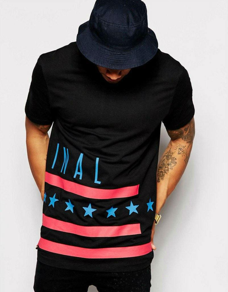 Мужская черная футболка c принтом INAL