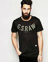 Черная футболка с принтом G.S.RAW