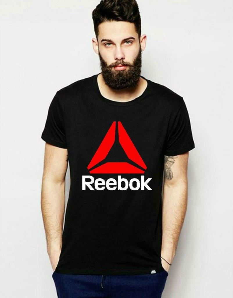 Стильная футболка черная с принтом рибок,Reebok